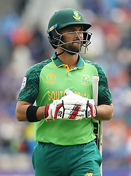 South Africa's JP Duminy reacts after being bowled out LBW during the ICC Cricket World Cup group stage match at the Hampshire Bowl, Southampton.