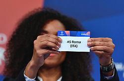NYON, SWITZERLAND - Monday, December 17, 2018: Lyon player Laura Georges holds up Roma after making the draw during the UEFA Champions League 2018/19 Round of 16 draw at the UEFA House of European Football. (Handout by UEFA)