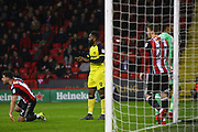 Burton Albion's Darren Bent reacts after missing a good chance during the EFL Sky Bet Championship match between Sheffield United and Burton Albion at Bramall Lane, Sheffield, England on 13 March 2018. Picture by John Potts.
