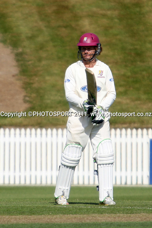 James Marshall brings up his 50 during day two of the plunket shield cricket match between the Northern Knights and Canterbury Wizards . Domestic 4 day cricket, Seddon Park, Hamilton. 30 November 2011. Photo: Dion Mellow / photosport.co.nz