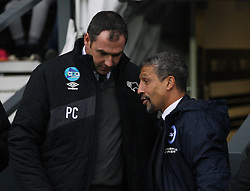 Derby County Manager Paul Clement (L) and Brighton & Hove Albion Manager Chris Hughton - Mandatory byline: Jack Phillips / JMP - 07966386802 - 12/12/2015 - FOOTBALL - The iPro Stadium - Derby, Derbyshire - Derby County v Brighton & Hove Albion - Sky Bet Championship