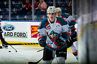KELOWNA, CANADA - JANUARY 26: Kyle Crosbie #25 of the Kelowna Rockets warms up against the Vancouver Giants  on January 26, 2019 at Prospera Place in Kelowna, British Columbia, Canada.  (Photo by Marissa Baecker/Shoot the Breeze)