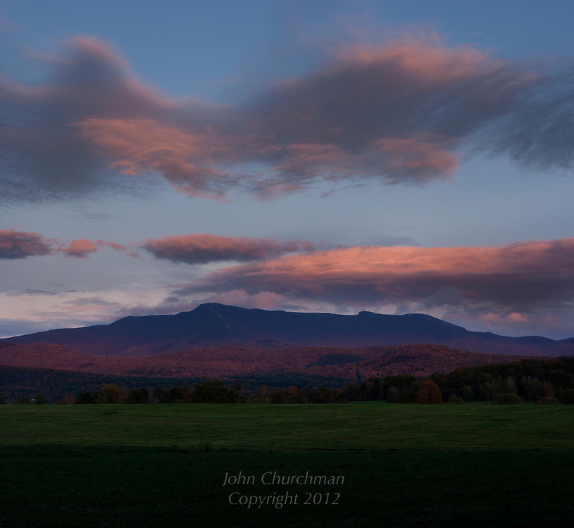 Mt. Mansfield at Sunset with fall light