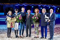 BLUM Simone (GER), BLUM Hans-Günter, MEWES Ralf (Züchter Alice), MEGGLE Marina, MEGGLE Toni, WULFF Volker<br /> München - Munich Indoors 2018<br /> Showabend - Die Nacht der WM Helden<br /> Ehrung Munich Indoor Award<br /> 24. November 2018<br /> © www.sportfotos-lafrentz.de/Stefan Lafrentz