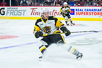 REGINA, SK - MAY 18: Connor Walters #24 of Hamilton Bulldogs stops on the ice against the Regina Pats at the Brandt Centre on May 18, 2018 in Regina, Canada. (Photo by Marissa Baecker/Shoot the Breeze)