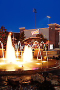 Sonic store in Bricktown near Downtown Oklahoma City, OK.  Fountain in foreground, at dusk.  Festive atmoshphere