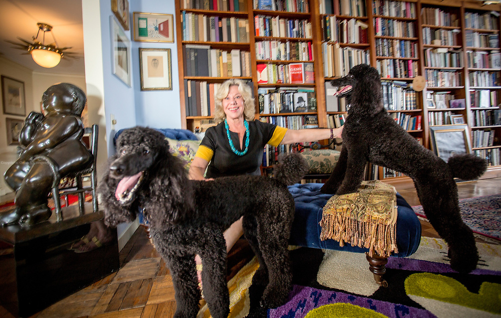"""American feminist and writer Erica Jong in her apartment with her poodles Colette (left) and Simone. Erica Jong has just finished her follow-up to her success """"Fear of Flying"""". Her new book, """"Fear of Dying"""" takes on age and sexuality."""