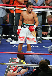 Manny Pacquiao celebrates after he knocks out Ricky Hatton in the second round of their Light Welterweight title fight at the MGM Grand, Las Vegas , Nevada, 2nd May 2009.