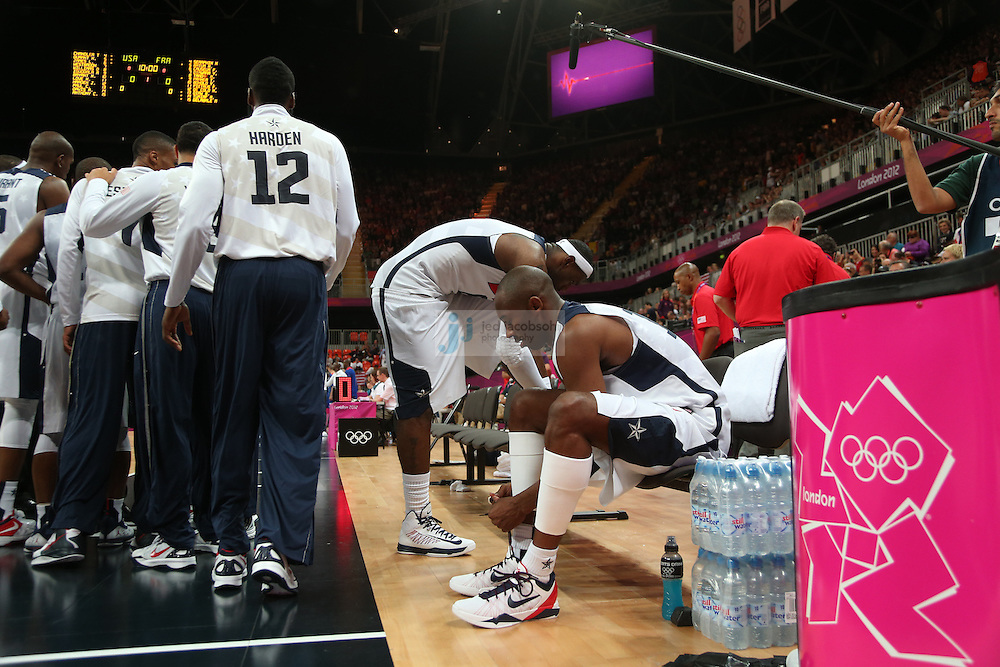 Kobe Bryant of the USA warms up against France during Day 2 of the London Olympic Games in London, England, United Kingdom on 29 Jul 2012..(Jed Jacobsohn/for The New York Times)....