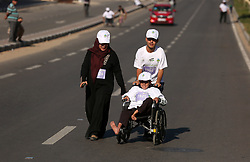 November 10, 2017 - Gaza, gaza strip, Palestine - Handicapped Palestinians participate in a ''national unity marathon'' organised by the Palestine Athletic Federation to support national reconciliation, in Gaza City on November 10, 2017. (Credit Image: © Majdi Fathi/NurPhoto via ZUMA Press)