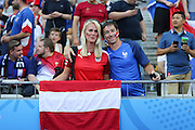 Poland fan with France fan during the Euro 2016 final between Portugal and France at Stade de France, Saint-Denis, Paris, France on 10 July 2016. Photo by Phil Duncan.