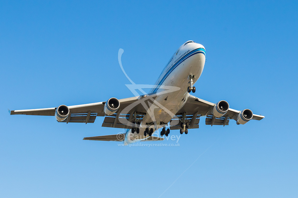 A Kuwait Airlines Boeing 747-400 lands at London's Heathrow Airport (LHR / EGLL).