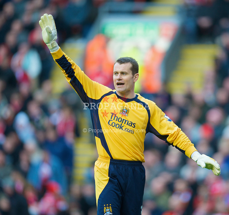 LIVERPOOL, ENGLAND - Sunday, February 22, 2009: Manchester City's goalkeeper Shay Given during the Premiership match against Liverpool at Anfield. (Mandatory credit: David Rawcliffe/Propaganda)