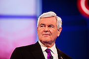 "22 FEBRUARY 2012 - MESA, AZ:     Congressman NEWT GINGRICH at the Arizona Republican Presidential Debate in the Mesa Arts Center in Mesa, AZ, Wednesday. It is the last debate before the Michigan and Arizona Republican primaries on Feb. 28 and ""Super Tuesday"" on March 6.   PHOTO BY JACK KURTZ"
