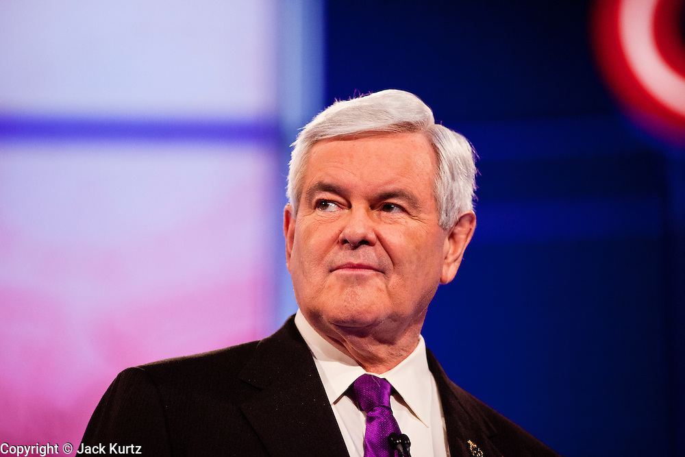 """22 FEBRUARY 2012 - MESA, AZ:     Congressman NEWT GINGRICH at the Arizona Republican Presidential Debate in the Mesa Arts Center in Mesa, AZ, Wednesday. It is the last debate before the Michigan and Arizona Republican primaries on Feb. 28 and """"Super Tuesday"""" on March 6.   PHOTO BY JACK KURTZ"""