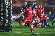 Scarlets' Dan Jones in action <br /> <br /> Photographer Craig Thomas/Replay Images<br /> <br /> Guinness PRO14 Round 17 - Scarlets v Leinster - Friday 9th March 2018 - Parc Y Scarlets - Llanelli<br /> <br /> World Copyright © Replay Images . All rights reserved. info@replayimages.co.uk - http://replayimages.co.uk