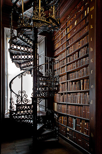 Trinity Collegeu0027s Old Library, The Long Room Spiral Staircase, Dublin,  Ireland.