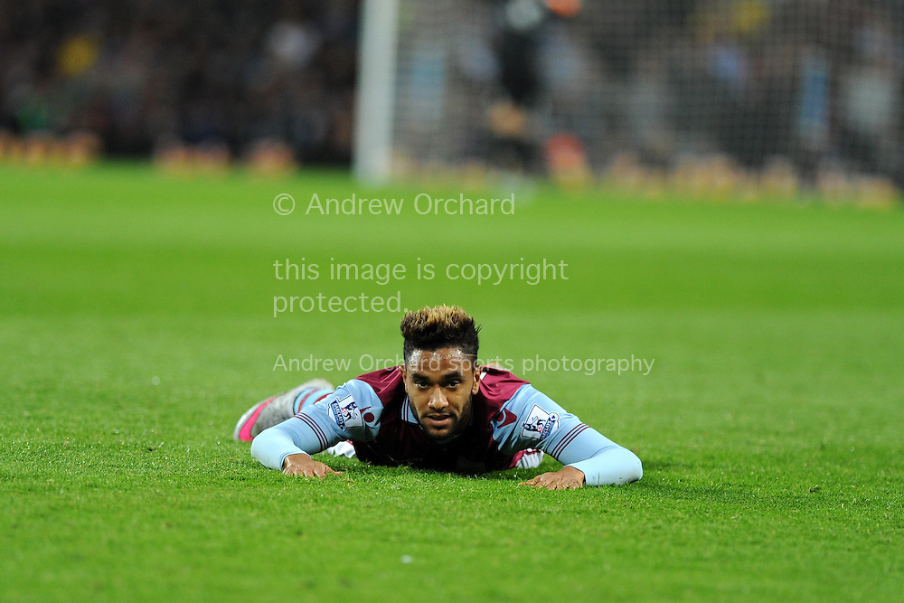 Jordan Amavi of Aston Villa looks on. .Barclays Premier League match, Aston Villa v Manchester Utd at Villa Park in Birmingham, Midlands on Friday 14th August  2015.<br /> pic by Andrew Orchard, Andrew Orchard sports photography.