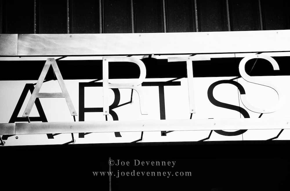 "The word ""ARTS"" at the Fine Arts Center on the University of Massachusetts campus in Amherst, Massachusetts."