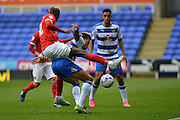 Charlton Athletic midfielder Alou Diarra tackles Reading's Danny Williams during the Sky Bet Championship match between Reading and Charlton Athletic at the Madejski Stadium, Reading, England on 17 October 2015. Photo by Mark Davies.