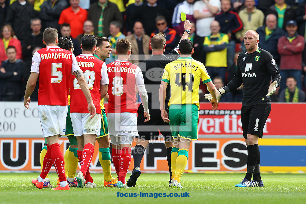 John Ruddy of Norwich sprints from his goal to confront Referee Mark Brown and gets a yellow card for his troubles during the Sky Bet Championship match at the New York Stadium, Rotherham<br /> Picture by Paul Chesterton/Focus Images Ltd +44 7904 640267<br /> 25/04/2015