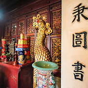 A side view of a shrine at the Temple of the Jade Mountain (Ngoc Son Temple) on Hoan Kiem Lake in the heart of Hanoi's Old Quarter. The temple was established on the small Jade Island near the northern shore of the lake in the 18th century and is in honor of the 13-century military leader Tran Hung Dao.