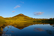 Pond reflects Otis Mountain at days end in the Bears Paw Mountains near Havre, Montana, USA