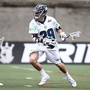 Matt Mackrides #39 of the Chesapeake Bayhawks controls the ball during the game at Harvard Stadium on April 27, 2014 in Boston, Massachusetts. (Photo by Elan Kawesch)