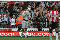 Photo: Lee Earle.<br /> Southampton v Derby County. Coca Cola Championship. Play Off Semi Final, 1st Leg. 12/05/2007.Southampton keeper Bartosz Bialkowski looks dejected after Derby scored their second goal.