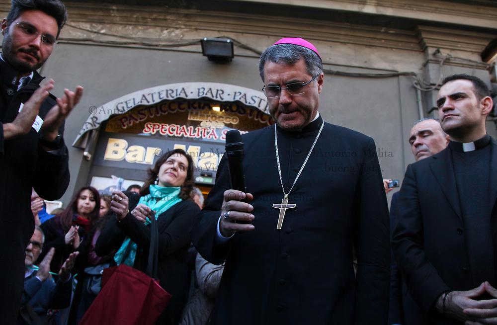 Corrado Lorefice, Arcivescovo di Palermo, interviene ad una manifestazione per i diritti delle persone con disabilità.