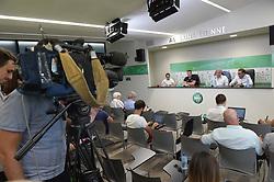 June 23, 2017 - L'Etrat - Centre De Formation Et, France - Oscar Garcia (entraineur) - Bernard Caiazzo et Roland Romeyer (presidents) et les medias (Credit Image: © Panoramic via ZUMA Press)
