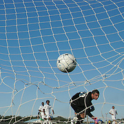 Goldey-Beacom Keeper Ignacio Farias (00) watches the ball go into the net during a NCAA regular season match against Wilmington University Wednesday, Sept. 12, 2012. at Kirkwood Soccer Complex...Special to Monsterphoto/SAQUAN STIMPSON