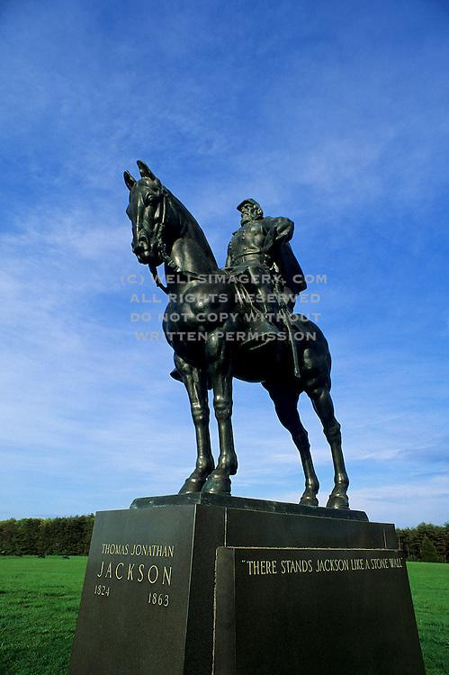 "Image of General Thomas ""Stonewall"" Jackson statue at Manassas National Battlefield Park, Virginia, east coast"