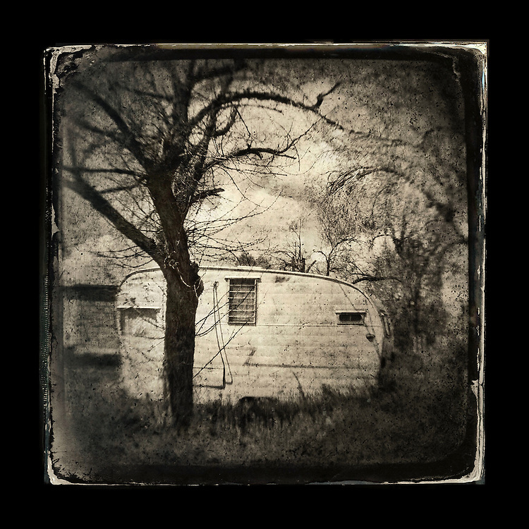 "Charles Blackburn Instagram image of a vintage travel trailer in Idaho. 5x5"" print."