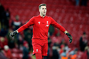 Liverpool goalkeeper Adrian (13) warming up  during the Premier League match between Liverpool and Everton at Anfield, Liverpool, England on 4 December 2019.