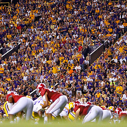 November 3, 2012; Baton Rouge, LA, USA; LSU Tigers fans watch from the stands during a game against the Alabama Crimson Tide at Tiger Stadium. Alabama defeated LSU 21-17. Mandatory Credit: Derick E. Hingle-US PRESSWIRE