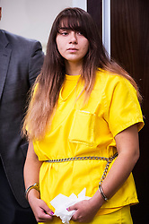 Jul 28, 2017 - Los Banos, California, U.S. - OBDULIA SANCHEZ, 18, of Stockton, listens as she turns to look at family members while appearing before judge David W. Moranda during a bail hearing at the Robert M. Falasco Justice Center, a branch of the Merced County Superior Court. Sanchez has been charged with DUI and gross vehicular manslaughter for a crash that occurred on Friday, July 21, 2017, resulting in the death of her 14-year-old sister Jacqueline Sanchez. Video of the crash which was live-streamed on social media by Obdulia Sanchez, has since gone viral. (Credit Image: © Andrew Kuhn/Merced Sun-Star via ZUMA Wire)