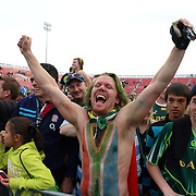 South African fans were joyous and crazy in celebrating their consecutive USA Sevens Cup victory on the third and final day of action at the USA Sevens, Sam Boyd Stadium, Las Vegas, Nevada.  Photo by Barry Markowitz, Courtesy STP/TriMarine, 1/26/14, 4pm
