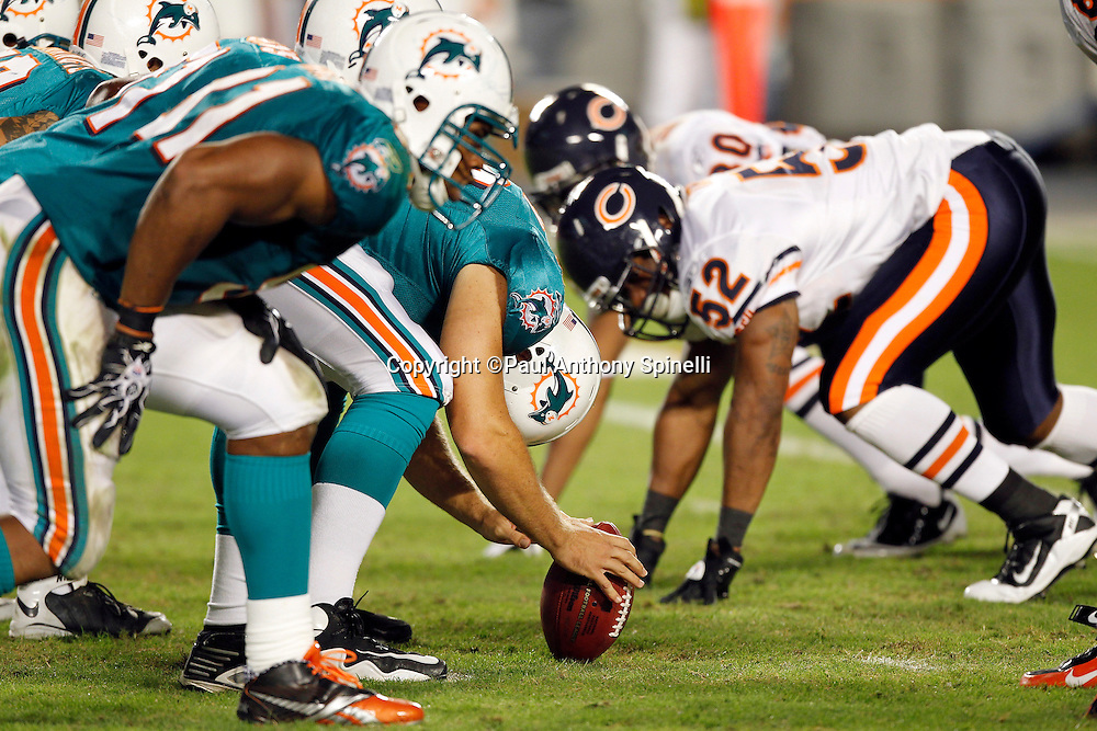The Miami Dolphins get set to snap the ball at the line of scrimmage during the NFL week 11 football game against the Chicago Bears on Thursday, November 18, 2010 in Miami Gardens, Florida. The Bears won the game 16-0. (©Paul Anthony Spinelli)