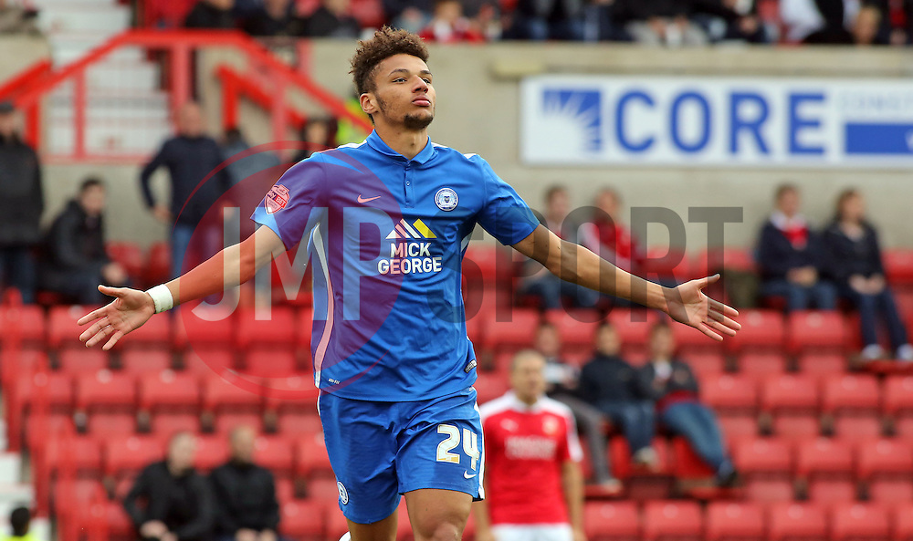 Lee Angol of Peterborough United celebrates scoring to make it 2-0 - Mandatory byline: Joe Dent/JMP - 07966 386802 - 10/10/2015 - FOOTBALL - County Ground - Swindon, England - Swindon Town v Peterborough United - Sky Bet League One
