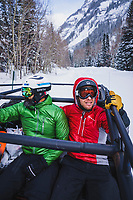 Koorosh Rassekh and Bryce Astill catch the Mount Hayden Backcountry Lodge shuttle, San Juan Mountains, Colorado.