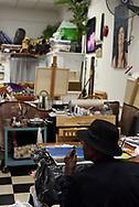 CANADA, Windsor. June, 2017. Howard McCurdy vapes inside one ten park, a studio, where he is taking art leassons.
