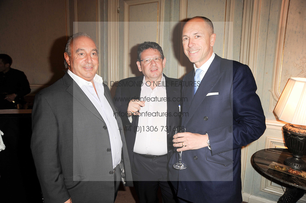 Left to right, SIR PHILLIP GREEN, LUCIAN GRAINGE and DYLAN JONES at a dinner hosted by Vogue in honour of photographer David Bailey at Claridge's, Brook Street, London on 11th May 2010.