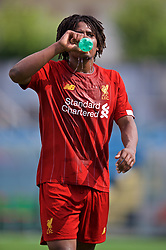 NAPLES, ITALY - Tuesday, September 17, 2019: Liverpool's Yasser Larouci drinks water during the UEFA Youth League Group E match between SSC Napoli and Liverpool FC at Stadio Comunale di Frattamaggiore. (Pic by David Rawcliffe/Propaganda)