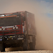 A vehicle rallies during the Baja Aragón Spain 2011 rally