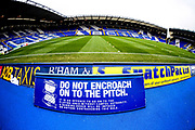 "St Andrews with ""do not encroach on to the pitch"" sign during the EFL Sky Bet League 1 match between Coventry City and Rochdale at the Trillion Trophy Stadium, Birmingham, England on 16 November 2019."
