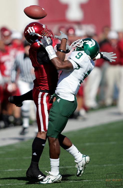 28 October 2006:  Indiana wide receiver Jahkeen Gilmore (1) and Michigan State cornerback Demond Williams (9) as  the Indiana Hoosiers beat the the Michigan State Spartans 46-21 in college football in Bloomington, Ind.