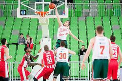 Mitja Nikolic #10 of KK Union Olimpija dunking during basketball match between KK Union Olimpija Ljubljana and KK Crvena zvezda Telekom (SRB) in 19th Round of ABA League 2015/16, on January 11, 2016 in Arena Stozice, Ljubljana, Slovenia. Photo by Urban Urbanc / Sportida