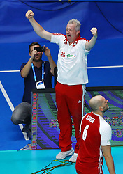 September 30, 2018 - Turin, Italy - Poland v Brazil - FIVP Men's World Championship Final.Vital Heynen coach of Poland celebrate at Pala Alpitour in Turin, Italy on September 30, 2018. (Credit Image: © Matteo Ciambelli/NurPhoto/ZUMA Press)