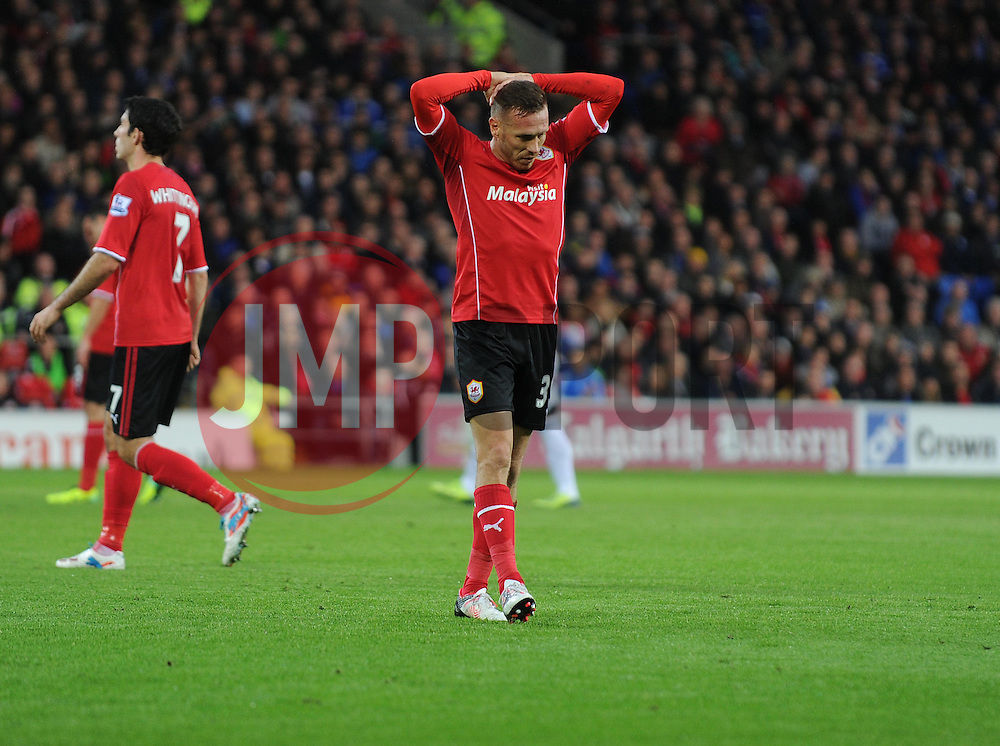 Cardiff City's Craig Bellamy looking dejected. - Photo mandatory by-line: Alex James/JMP - Tel: Mobile: 07966 386802 03/11/2013 - SPORT - FOOTBALL - The Cardiff City Stadium - Cardiff - Cardiff City v Swansea City - Barclays Premier League